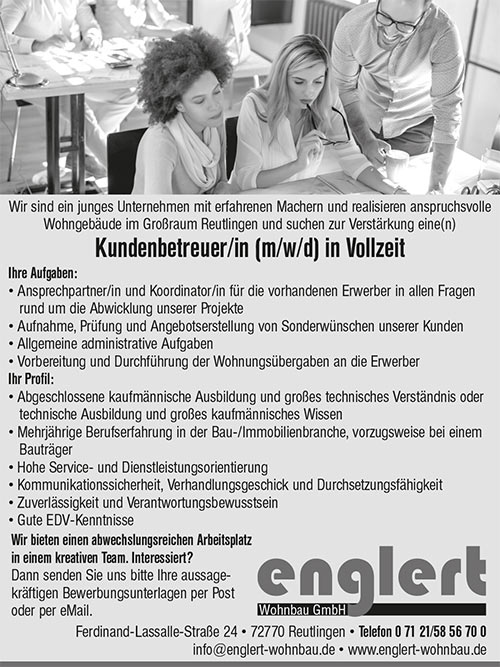 Kundenbetreuer (m/w/d) in Reutlingen gesucht